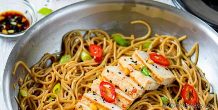 Sesame Chili Garlic Noodles with Grilled Tofu