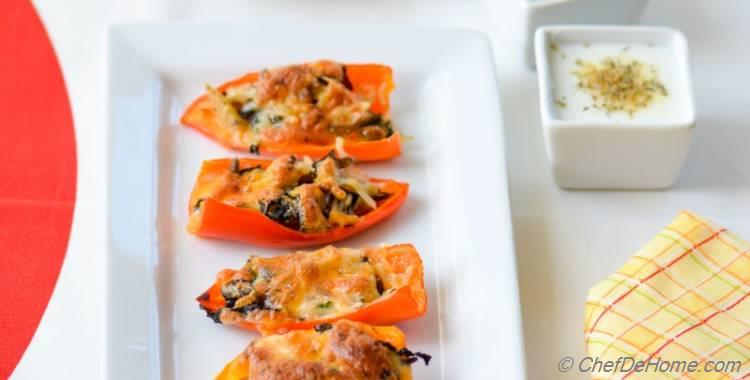 Leftover Stuffing Stuffed Sweet Peppers with Two Kinds Buttermilk Dips