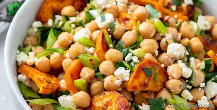 Roasted Sweet Potato Chickpea Feta Salad