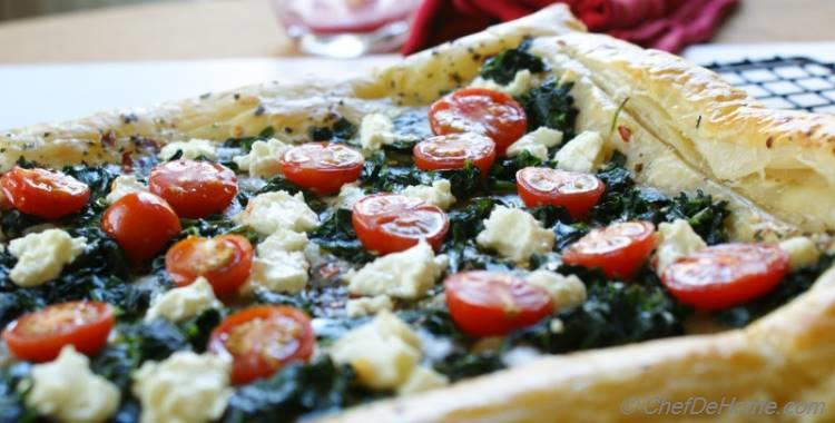 Cherry Tomato, Goat Cheese and Spinach Puff Pastry Tarts