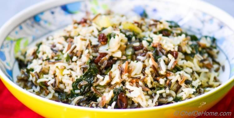Wild Rice, Kale and Mushroom Stuffing - Vegan and Gluten Free