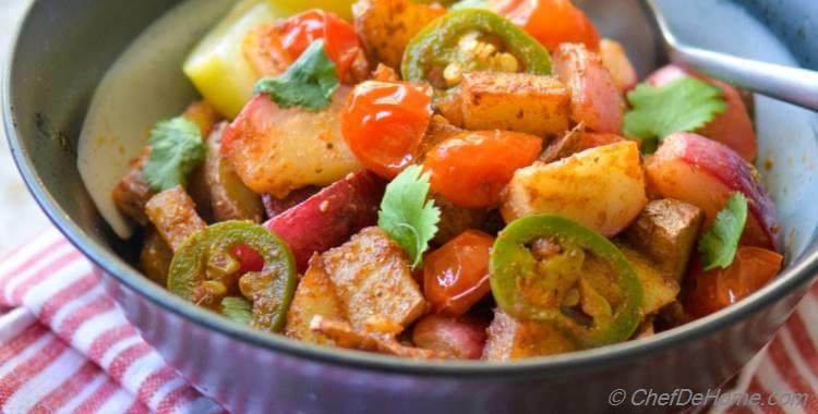 Vegan, Zesty and Warm Radish-Potatoes Bowl   Indian Vrat Ki Chatpati Aloo Mooli Sabji
