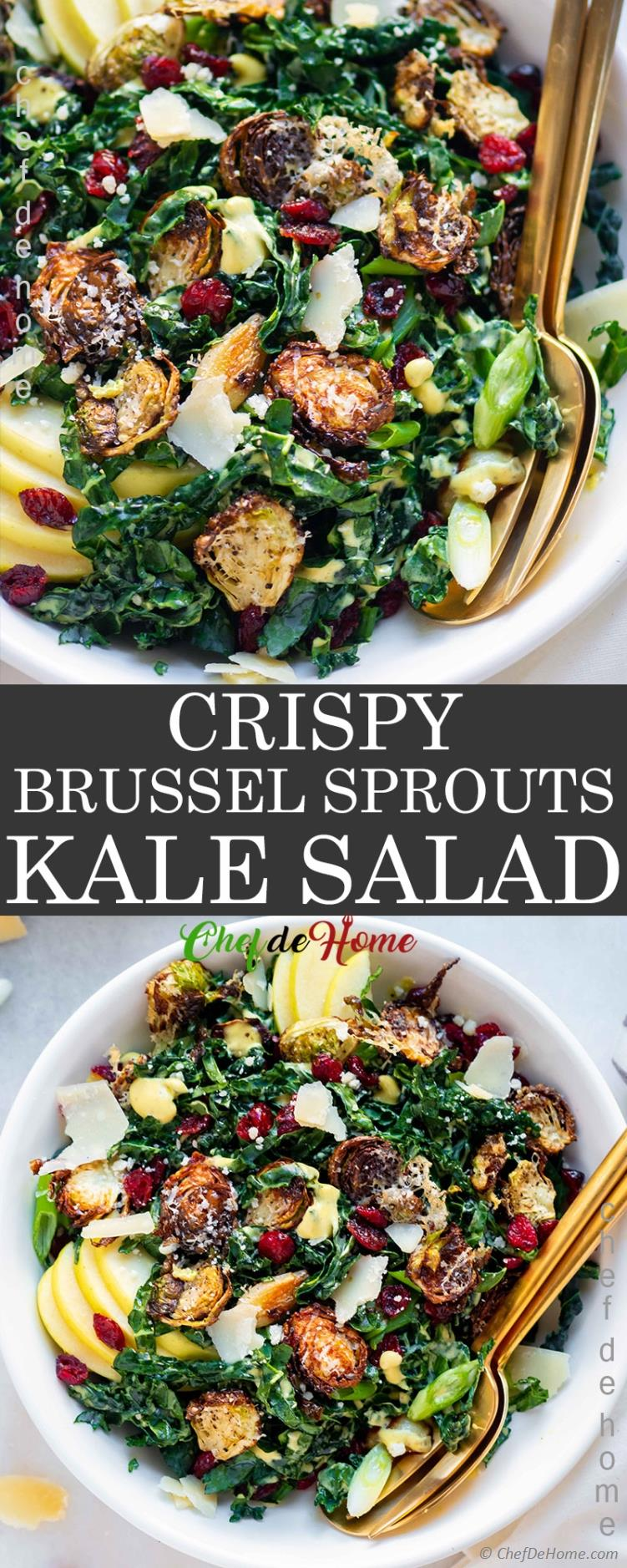 Kale Salad with Crispy Roasted Brussel Sprouts