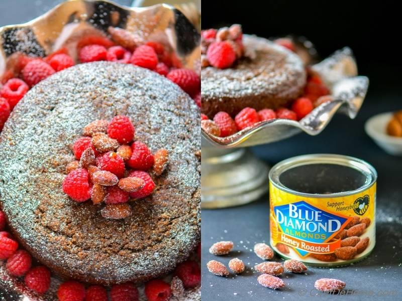 Blue Diamond Honey Roasted Almonds and Chocolate Almond Olive Oil Cake | chefdehome.com