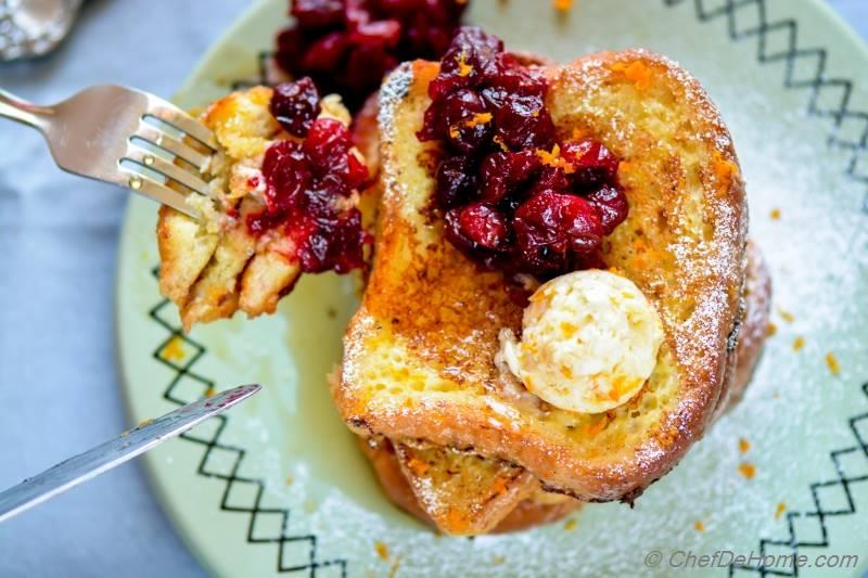 Moist and Rich Eggnog French Toast for Sunday Brunch with sweet and salty Orange Butter | chefdehome.com