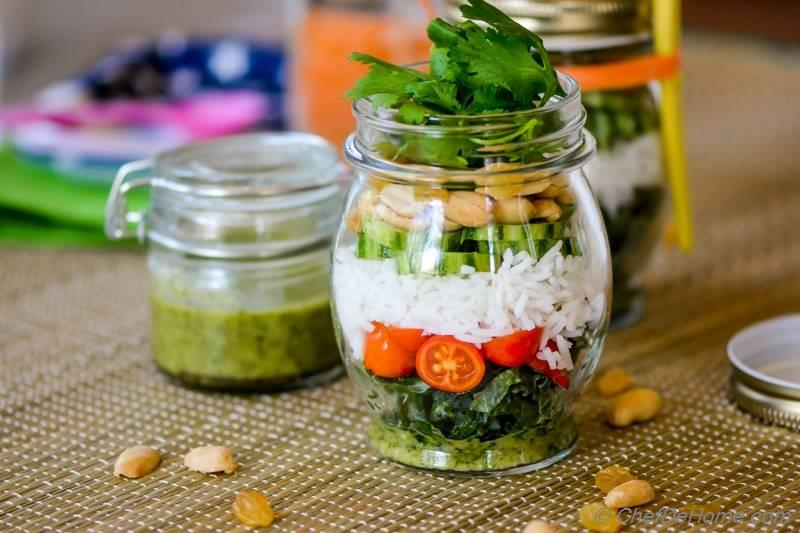 Marinated Kale and Rice Salad in a Jar | chefdehome.com