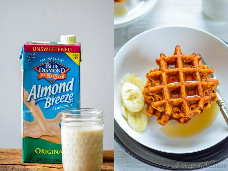 Dairy Free Sweet Potato and Oats Waffles made with Blue Diamond Almondmilk | chefdehome.com