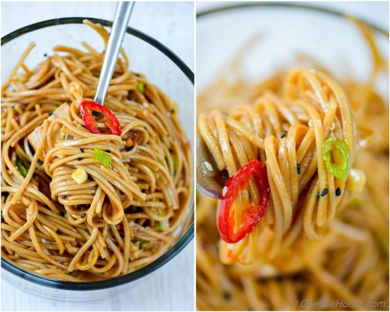 Garlicky Chili Garlic Sauce Coated Buckwheat Noodles for Easy Chinese Dinner at home | chefdehome.com