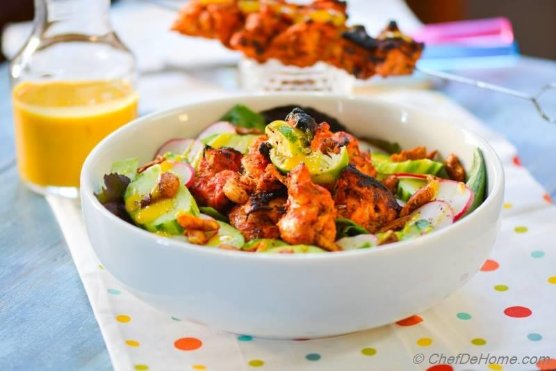 Spicy Tandoori Chicken Salad with Cooling Mango Dressing | chefdehome.com
